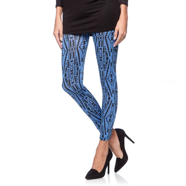 Women's Blue and Black Geometric Printed Leggings