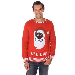 Mens 'Black Santa Believe' Ugly Christmas Sweater