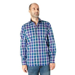 Ike Behar Men's Purple Check Frederick Spread Collar Sport Shirt
