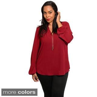 Stanzino Women's Plus Size Long Sleeve Chiffon Top