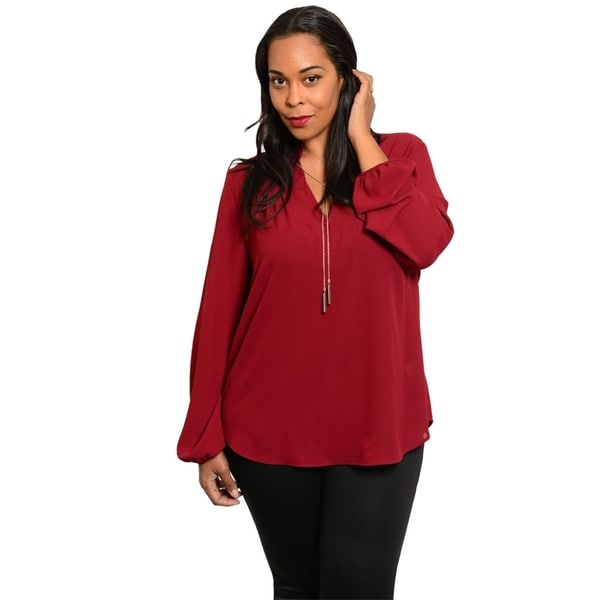 Stanzino Women's Plus Size Long Sleeve Chiffon Top