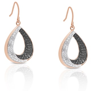 Finesque Rose Gold Overlay Diamond Accent Teardrop Dangle Earrings