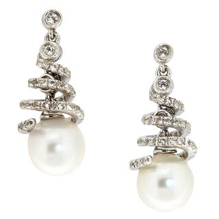 Pearlz Ocean Sterling Silver White Freshwater Pearl and White Topaz Earrings (8 mm)
