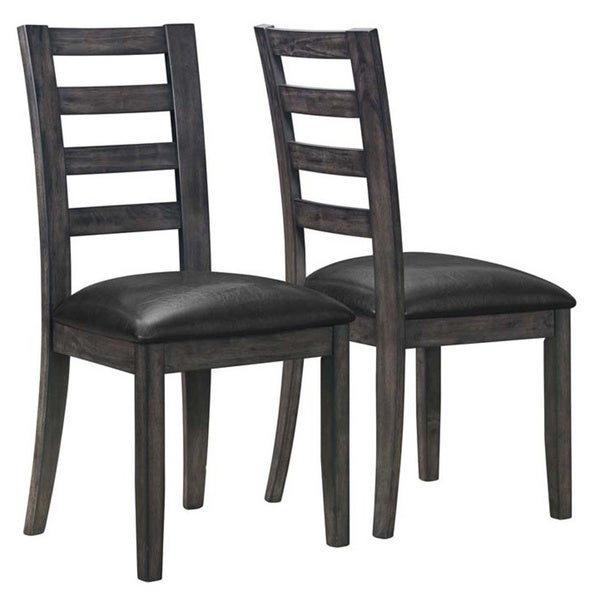 Charcoal Grey/ Black Leather-look Side Chair (Set of 2)