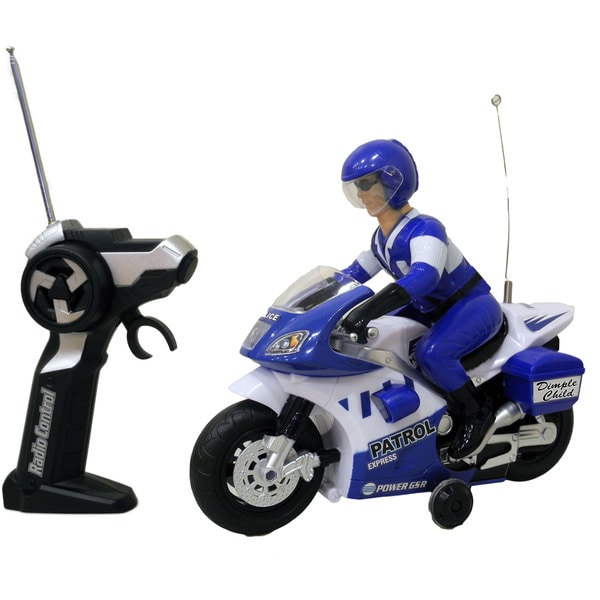DimpleChild Radio Control Police Motorcycle with Lights and Sound
