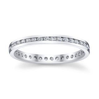 14k White Gold 1ct TDW Diamond Channel Eternity Wedding Band (H-I, SI1-SI2)