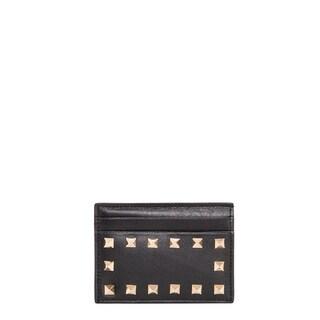 Valentino 'Rockstud' Black Leather Card Case