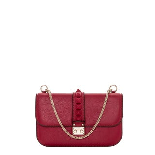 Valentino 'Rockstud' Macro Stud Scarlet Leather Shoulder Bag