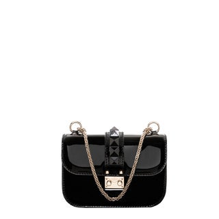Valentino Black Studded Patent Leather Shoulder Bag