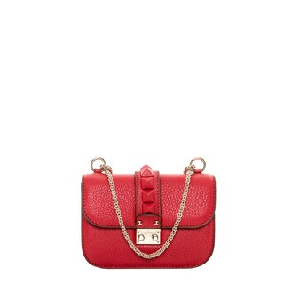 Valentino 'St Alce' Mini Red Grainy Leather Shoulder Bag