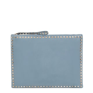 Valentino 'Rockstud' Light Blue Leather Big Clutch
