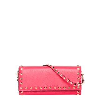 Valentino 'Rockstud' Pink Leather Wallet with Strap