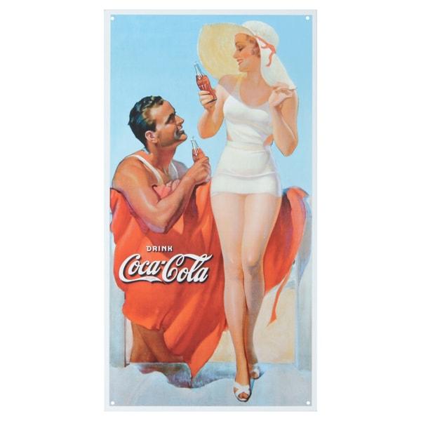 Vintage Metal Art 'Coke at Beach' Decorative Tin Sign