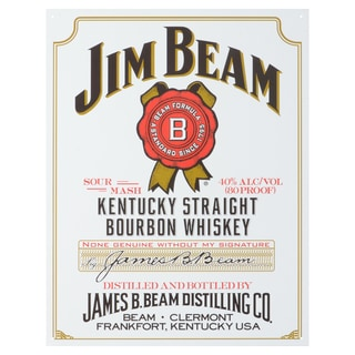 Vintage Metal Art 'Jim Beam White Label' Decorative Tin Sign