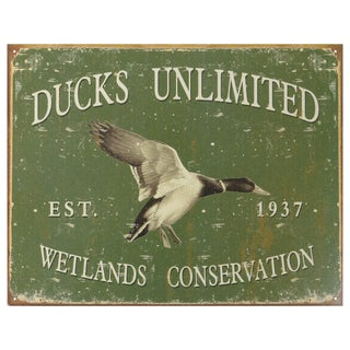 Vintage Metal Art 'Ducks Unlimited 1933' Decorative Tin Sign