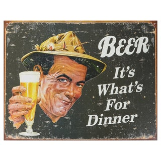 Vintage Metal Art 'Ephemera- Beer for Dinner' Decorative Tin Sign