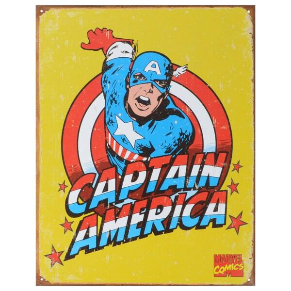 Vintage Metal Art 'Captain America Retro' Decorative Tin Sign 14301223