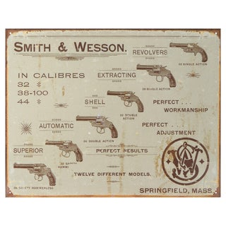 Vintage Metal Art 'Smith & Wesson Revolvers' Decorative Tin Sign