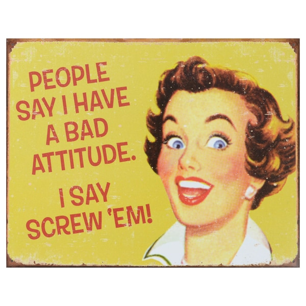 Vintage Metal Art 'Ephemera Bad Attitude' Decorative Tin Sign 14301231