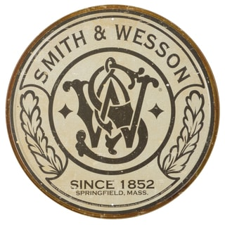 Vintage Metal Art 'Smith & Wesson' Decorative Round Tin Sign