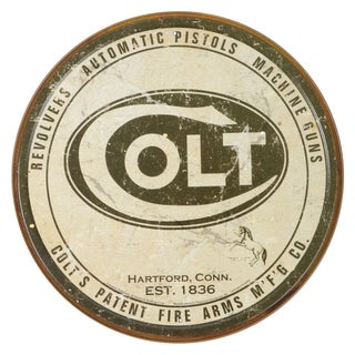 Vintage Metal Art 'Colt' Decorative Round Tin Sign
