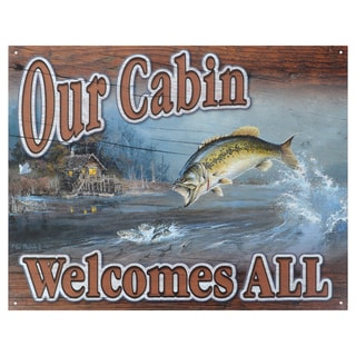 Vintage Metal Art 'Our Cabin Welcomes You' Decorative Tin Sign