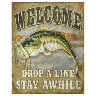 Vintage Metal Art 'Welcome Bass Fishing' Decorative Tin Sign