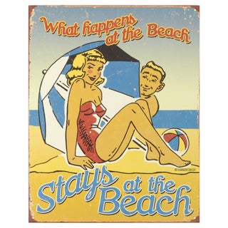 Vintage Metal Art 'What Happens at the Beach' Decorative Tin Sign