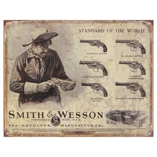 Vintage Metal Art 'Smith & Wesson' Decorative Tin Sign