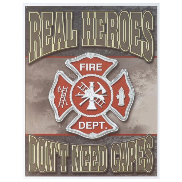 Vintage Metal Art 'Real Heroes Firemen' Decorative Tin Sign 14301252