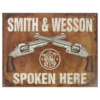 Vintage Metal Art 'Smith & Wesson Spoken Here' Decorative Tin Sign