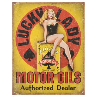 Vintage Metal Art 'Lucky Lady Motor Oil' Decorative Tin Sign