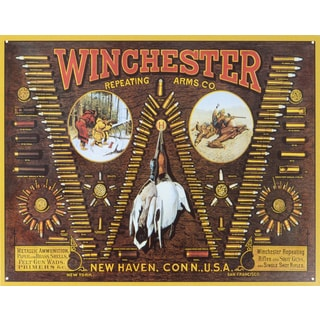 Vintage Metal Art 'Winchester W Bullet' Decorative Tin Sign