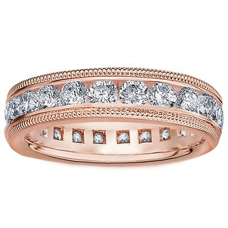 Amore 14K or 18K Rose Gold 2ct TDW Milligrain Edge Diamond Wedding Band (G-H, SI1-SI2)