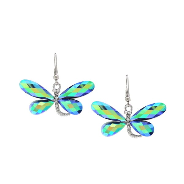 Bleek2Sheek Blue Rainbow Finish Crystal Dragonfly Earring Set