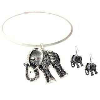 Bleek2Sheek Tribal Elephant Choker Necklace and Earring Set