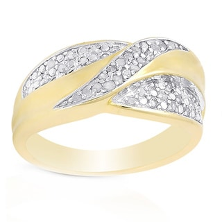 Finesque Gold over Sterling Silver Diamond Accent Infinity Design Ring