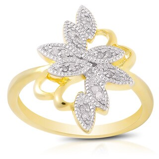 Finesque Yellow Gold over Silver Diamond Accent Flower Ring