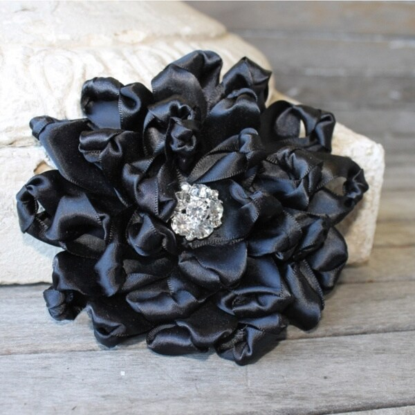 CarolineAlexander Black Satin Ribbon Flower Pin
