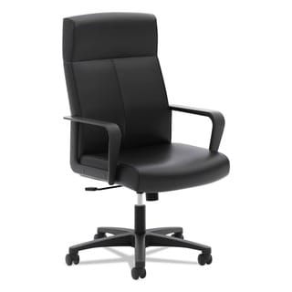 basyx VL604 Series Black SofThread Leather High-Back Executive Chair