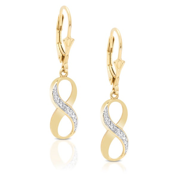 Finesque Yellow Gold over Silver Diamond Accent Infinity Earrings