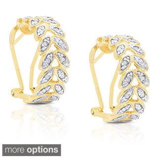 Finesque Yellow Gold over Silver 1/4ct TDW Diamond Leaf Hoop Earrings (I-J, I2-I3)