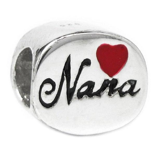 Queenberry Sterling Silver Love Nana Red Heart Enamel European Bead Charm