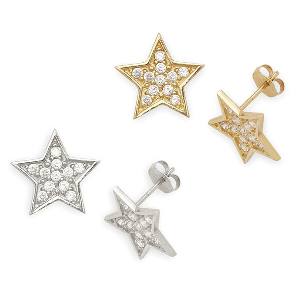 14k Gold Cubic Zirconia Big Star Earrings