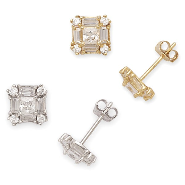 14k Gold Cubic Zirconia Square Stud Earrings