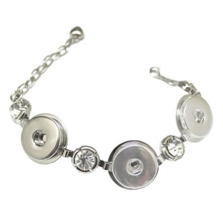 Bleek2sheek Snap-a-doo Collection Silver Link with Rhinestones 3 Snap Base Noosa Bracelet