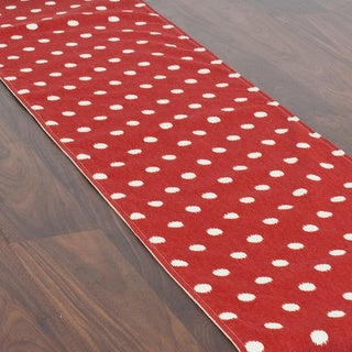 Ikat Dot Red 12.5x72 Lined Table Runner