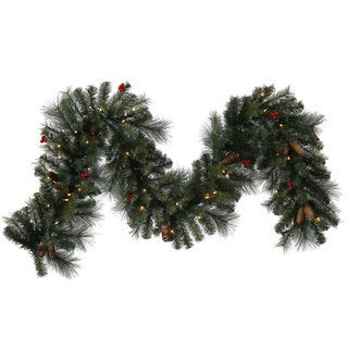 9-foot Mix Pine Berry Cone Garland with 70 Clear Lights
