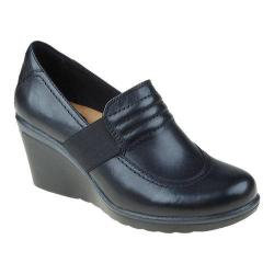 Women's Earth Starling Slip On Wedge Black Calf Leather