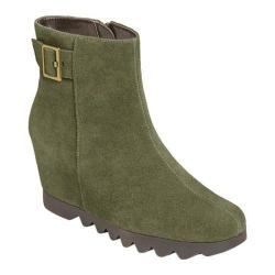 Women's Aerosoles Confidential Suede Wedge Bootie Dark Green Suede